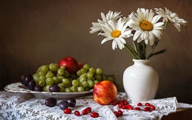Preview wallpaper Grapes, apples, plum, white chamomile flowers, vase