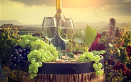 Grapes, wine, barrel, glass cups