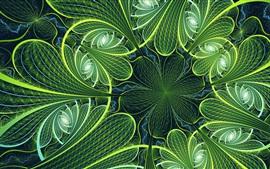 Flores verdes, imagem fractal, abstrato