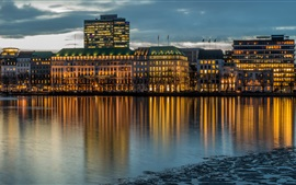 Preview wallpaper Hamburg, Germany, river, buildings, night, lights