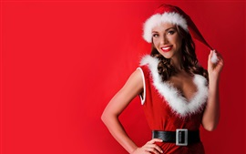 Happy Christmas girl, red skirt, hat, red background