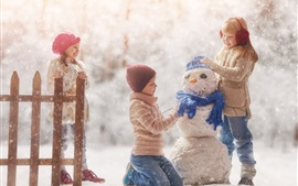 Happy childs, play snowman, snowy, winter