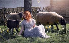 Happy girl and sheep, flowers