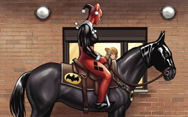 Preview wallpaper Harley Quinn, Batman, horse, art picture