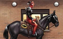 Harley Quinn, Batman, caballo, imagen de arte