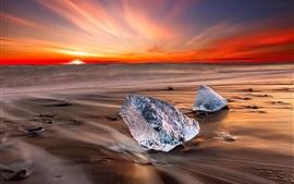 Islandia, hielo, mar, playa, puesta de sol