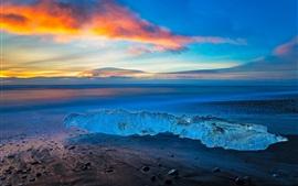 미리보기 배경 화면 아이슬란드, 얼음, 바다, 저녁