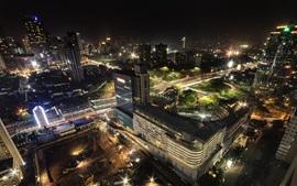 Indonésia, jacarta, cidade, estradas, edifícios, vista superior, noturna