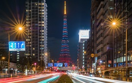 Preview wallpaper Japan, cityscape, night, buildings, roads, lights, tower