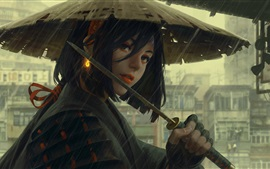 Preview wallpaper Japanese girl, hat, rain, sword, art painting