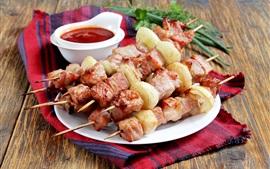 Kebab, viande, ketchup