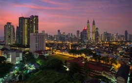 Preview wallpaper Kuala Lumpur, Malaysia, city evening, buildings, lights