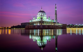 Preview wallpaper Kuala Lumpur, mosque, night, river, water reflection, Malaysia