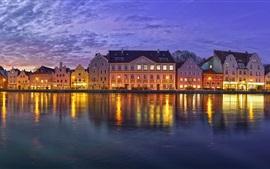 Ландсхут, Бавария, Германия, набережная, река, здания, ночь