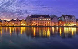 Landshut, Bayern, Alemanha, promenade, rio, edifícios, noite