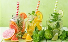 Lemon, citrus, lime, drinks, mint