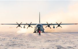 Preview wallpaper Lockheed LC-130 Hercules, plane, south pole, snow