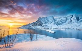 Lofoten Islands, Norway, sunset, lake, mountains, snow, winter