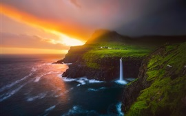 Preview wallpaper Lofoten Islands, beautiful nature landscape, sea, waterfalls, sunrise, fog