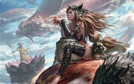 Long hair fantasy girl, dragon, art picture