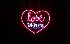 Love 24 hours, neon light