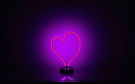 Preview wallpaper Love heart neon light, purple backlight