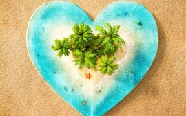 Preview wallpaper Love heart, sea, island, beach, creative