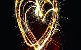 Amor corações fogos de artifício, faíscas, noite