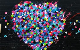 Preview wallpaper Love hearts graffiti wall, colorful, art painting