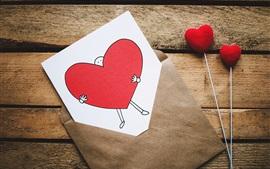 Preview wallpaper Love hearts, postcard, envelope