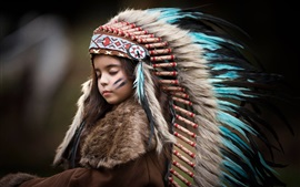 Lovely child girl, feathers, Indian style