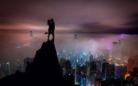 Lovers, kiss, mountain top, city night, Hong Kong