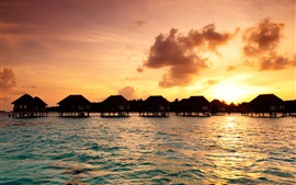 Preview wallpaper Maldives, bungalow, tropics, sea, sunset