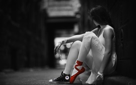 Monochrome style, girl, ballerina, red shoes