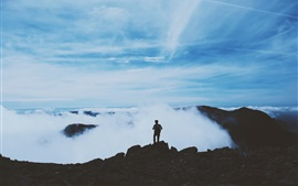 Preview wallpaper Mountains, clouds, man, silhouette