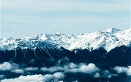 Горы, снежные, пики, туман