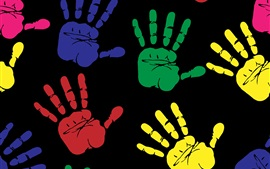 Preview wallpaper Multi Colors hands prints