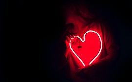 Preview wallpaper Neon love heart, hands