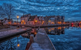 Preview wallpaper Netherlands, Haarlem, dock, houses, river, night, lights