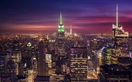New York, USA, city night, skyscrapers, lights