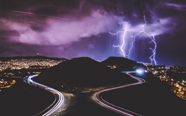 Preview wallpaper Night, city, roads, light lines, lightning