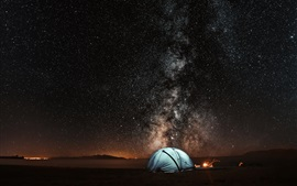 Preview wallpaper Night, tent, starry sky