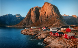 Preview wallpaper Norway, fjord, mountains, lake, city
