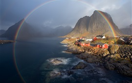 Norway, mountains, houses, lake, rainbow