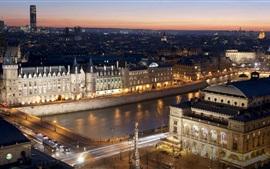 París, ciudad, noche, puente, río, luces, Francia