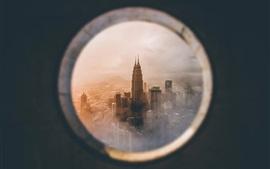 Preview wallpaper Petronas Twin Towers, look from window, Kuala Lumpur, Malaysia