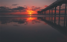 Preview wallpaper Pier, sea, sunset, red sky, clouds