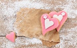 Preview wallpaper Pink love heart cookies, sugar powdered