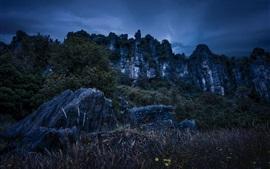 Piopio, Nueva Zelanda, montañas, rocas, noche