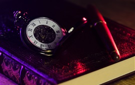 Preview wallpaper Pocket watch, book, pen